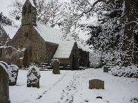 St Dubricius Church in the snow